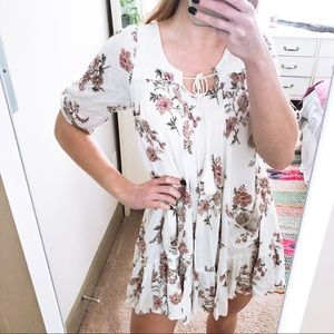 Altar'd State White Floral Peasant Dress